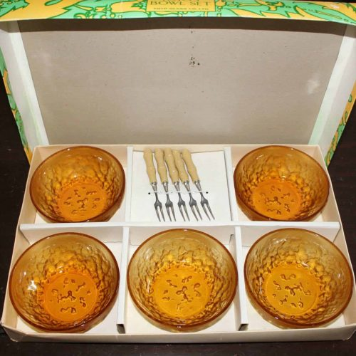 Fruit Bowl Set, Amber Glass Appetizer with Bamboo Forks -Toyo Vintage