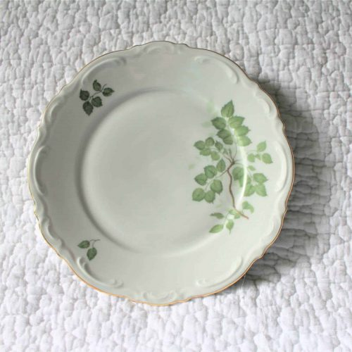 "Plates, Dessert/Bread & Butter Mitterteich Bavaria Germany, ""Green Leaves"", Set of 10"