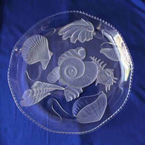 "Tray / Platter Frosted Sea Shells ""Nautilus"" by Aderia, SOLD"
