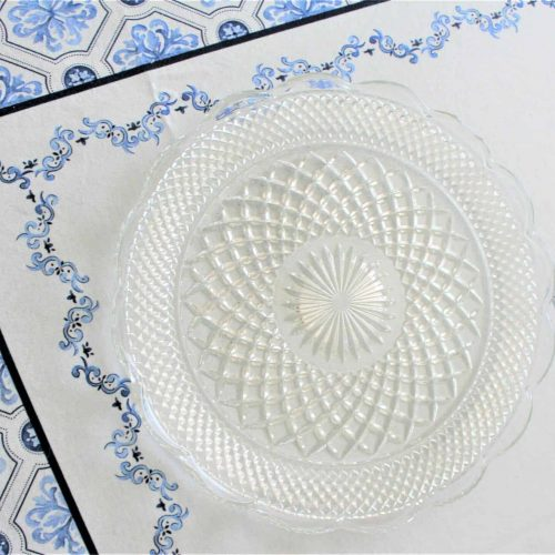 """Platter/Torte Plate Cupped-Edge, Wexford Pattern by Anchor Hocking - 14"""""""