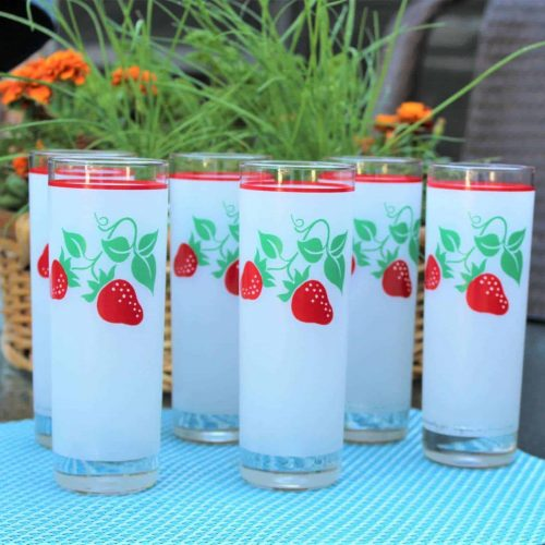 Glasses, Highball/Tumbler, Teleflora Strawberries Frosted, Set of 6, SOLD