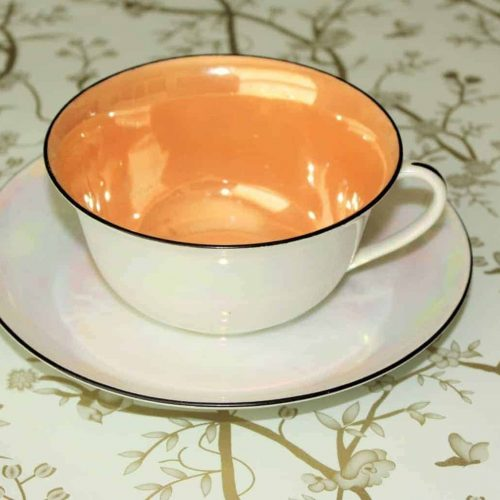 Teacup and Saucer, Iridescent Lusterware, Bell China, Czechoslovakia