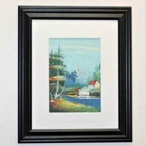Painting Oil, Framed, Snow Capped Mountains, Lake, Original - Unsigned