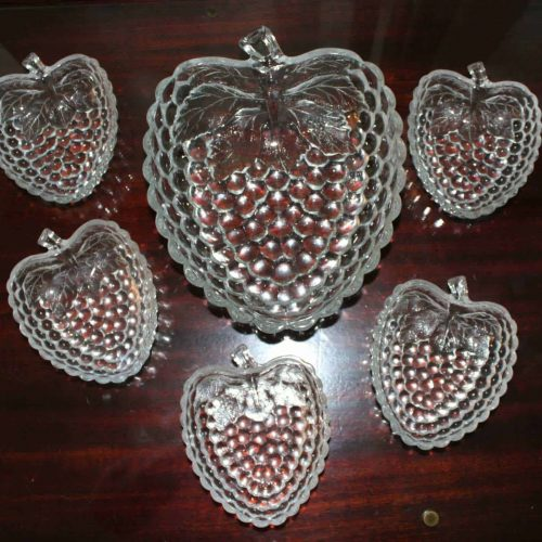 Bowls, Salad Set, Glass Berry / Raspberry Shaped Bowls, Set of 6, 1 Lg. 5 Sm.
