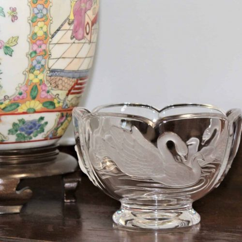 Bowl, Decorative, Swan Etched / Frosted, Teleflora, SOLD