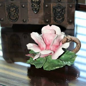 Candle Holder / Chamberstick, Capodimonte Rose, Italy, SOLD