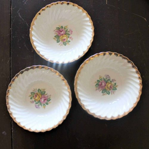 "Bowls Fruit / Dessert, Royal China, ""Quban Royal"". 22K Gold, Set of 3"