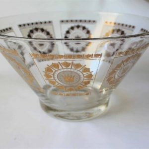 """Bowl, Mid-Century Modern Frosted Glass, Gold """"English Crown and Shields"""""""
