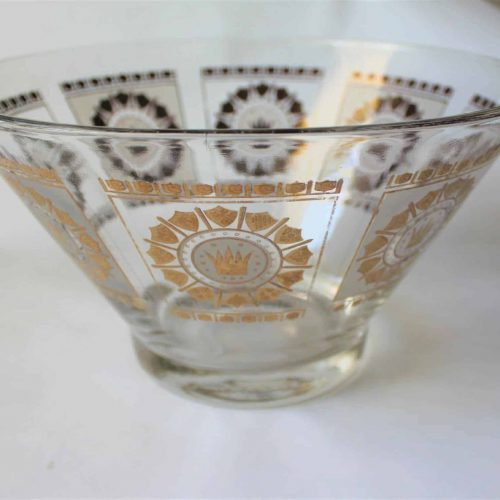 "Bowl, Mid-Century Modern Frosted Glass, Gold ""English Crown and Shields"""