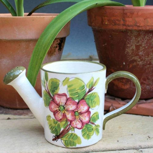 Watering Can / Planter / Vase, Hand Painted, Ceramic Floral