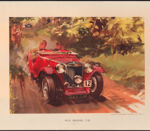 Print, Frank Wootton,1945 M.G. Model T.C.,1958, Unused NOS