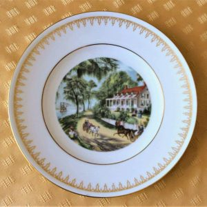 """Decorative Plate, """"Home on the Mississippi"""", Currier & Ives, Danbury Mint"""