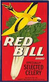 Label Crate, Red Bill Celery, Genuine-Original 1930's- NOS
