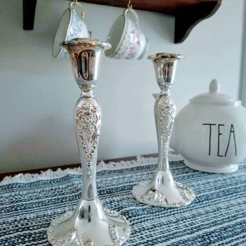 "Candle Holders, Silver plated Tapers, ""20th Century Baroque"" by Godinger, SOLD"